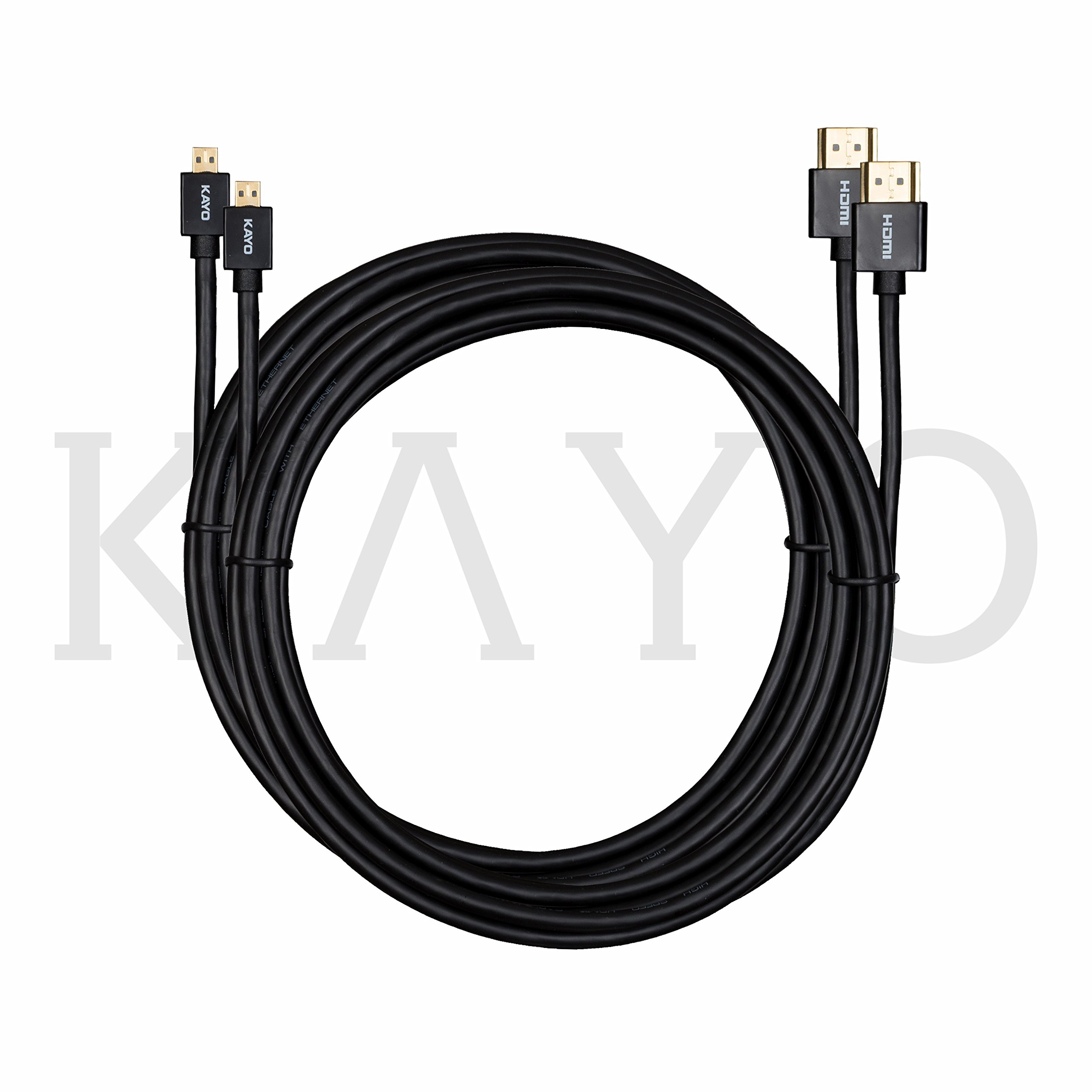 KAYO Hi-Speed SLIM Micro-HDMI (D) to HDMI (A) Cable 10FT -Pack of 2 | Supports 3D, 4K x 2K Video, resolution up to 1440 pixels