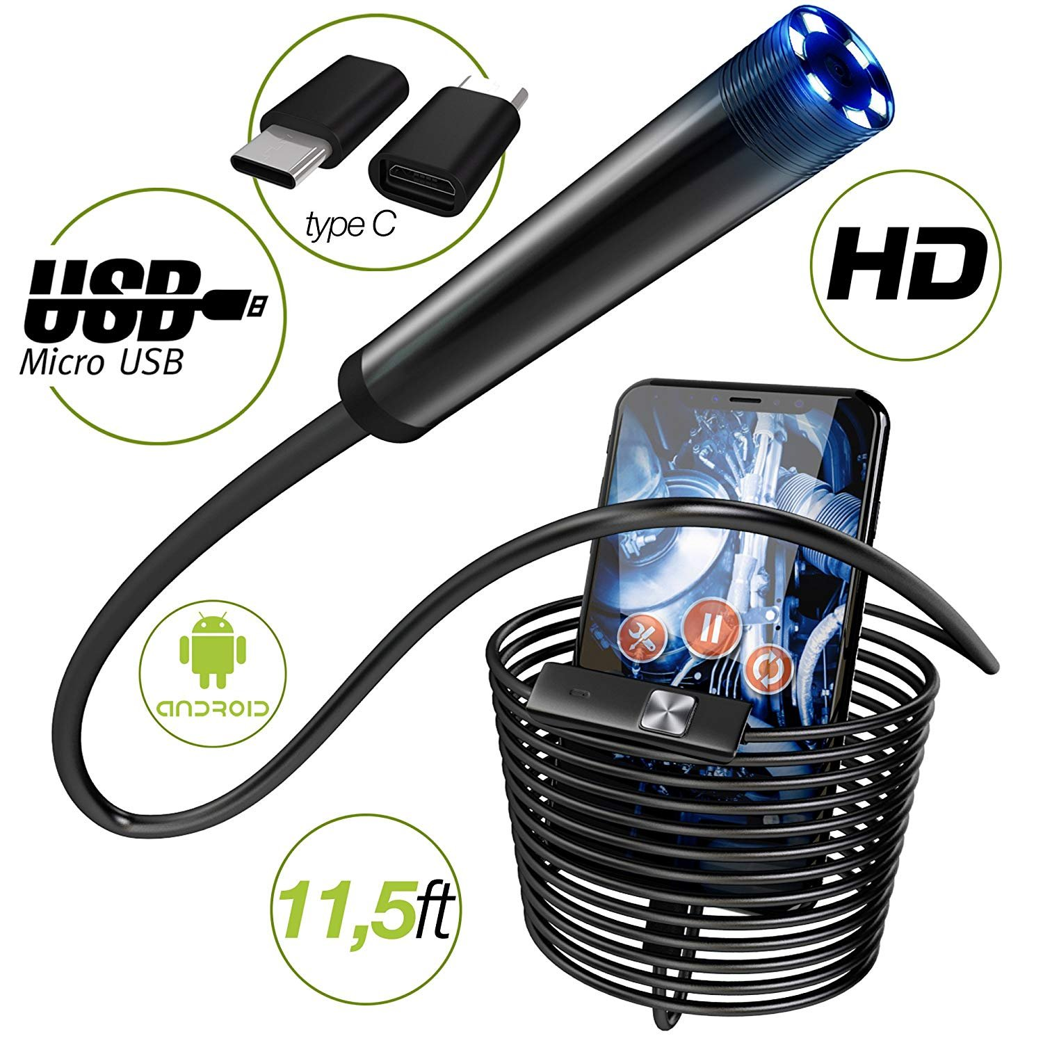 Endoscope - Borescope - Endoscope Android- USB Endoscope Borescope - micro USB - USB C Inspection Camera - Waterproof LED Automotive Vehicle Bore Drain Digital HD Semi-rigid OTG Android with Case