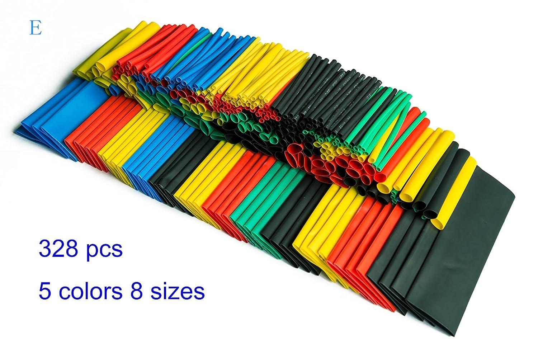 HT328-UK 328 piezas varios encogen al calentarse 5 colores tama/ños 8 funda juego de policarbonato y tubo de