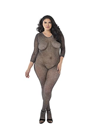 a040169eb02 Amazon.com  Dreamgirl Women s Plus Size Metallic Fishnet Open Crotch ...