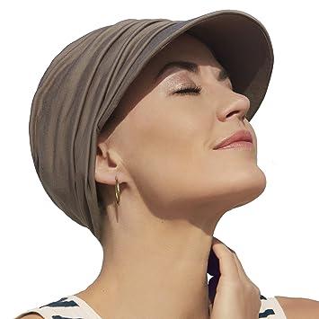 Gorra oncológica ultra transpirante Bella con visera y Technology 37.5® color marrón arenoso para mujeres