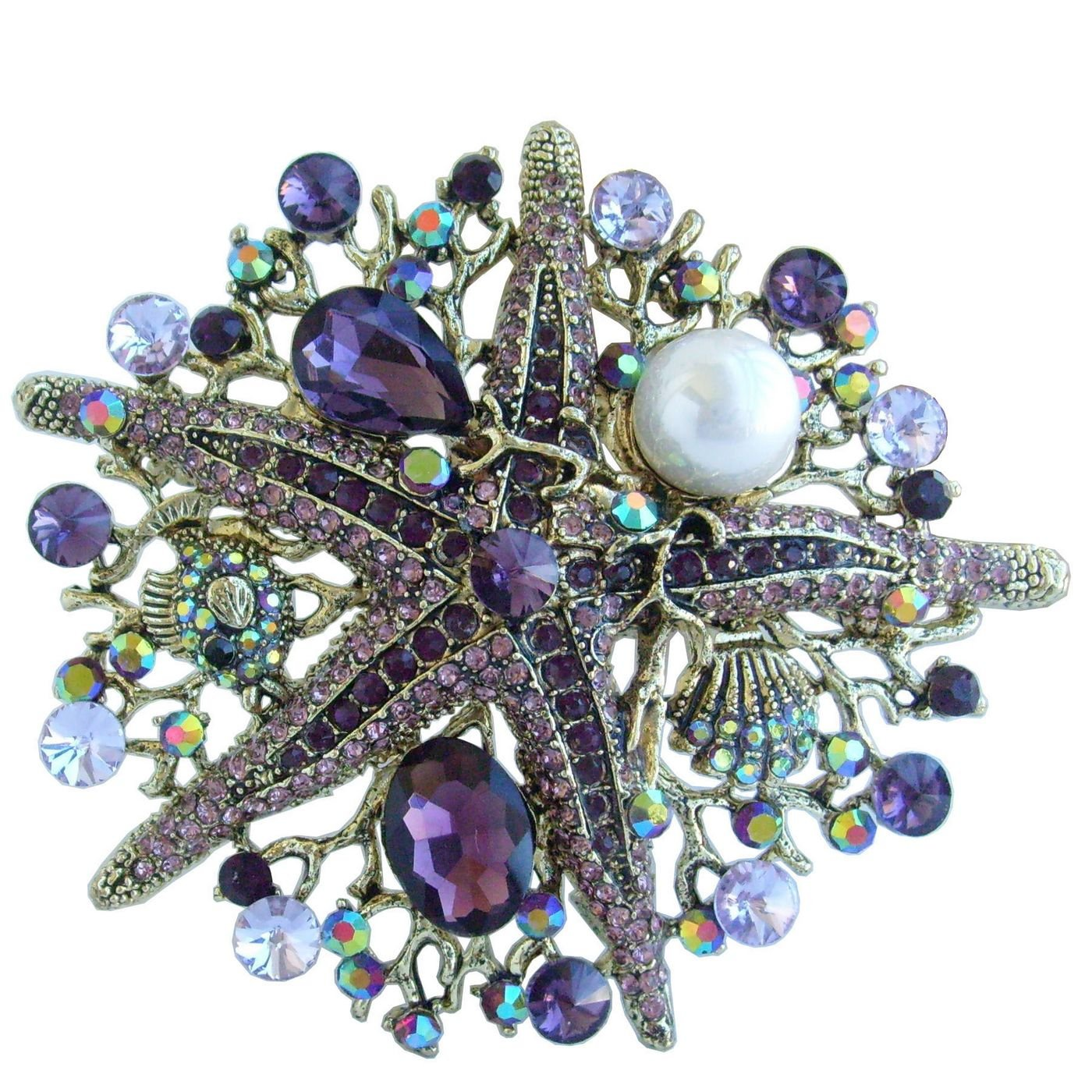 Sindary Gold Tone 3.15'' Starfish Brooch Pin Purple Rhinestone Crystal