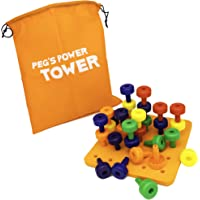 Peg's Power Tower Stacking Toy by Little Roos | Educational Peg Board Toy for Kids to Learn fine Motor Skills, with 30…