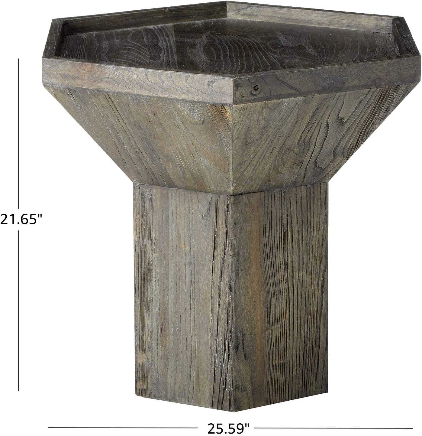 Amazon Brand – Rivet Geometric Elm Wood Side End Accent Table, 25.59