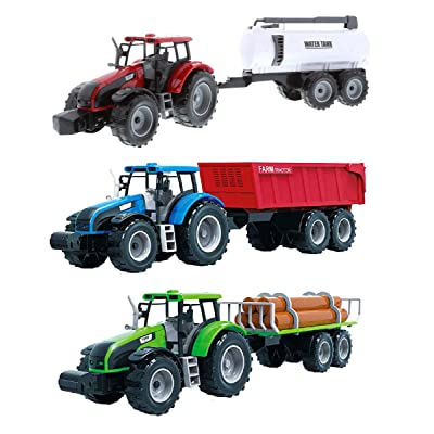 "Mozlly Friction Powered Farm Tractor Vehicles, 16.5"" Includes Farmer Tractor Water Tank and Log Trailer, Push & Go No Batteries Needed Farming Toys Playset for Boys Kids Toddlers (3pc Set): Toys & Games"