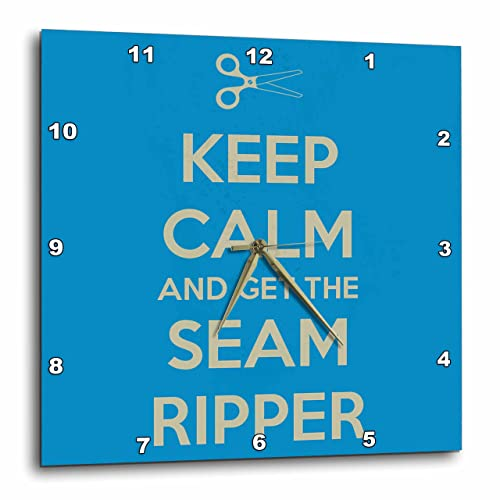 3dRose dpp_172003_3 Keep Calm and Get The Seam Ripper. Blue and White-Wall Clock, 15 by 15-Inch