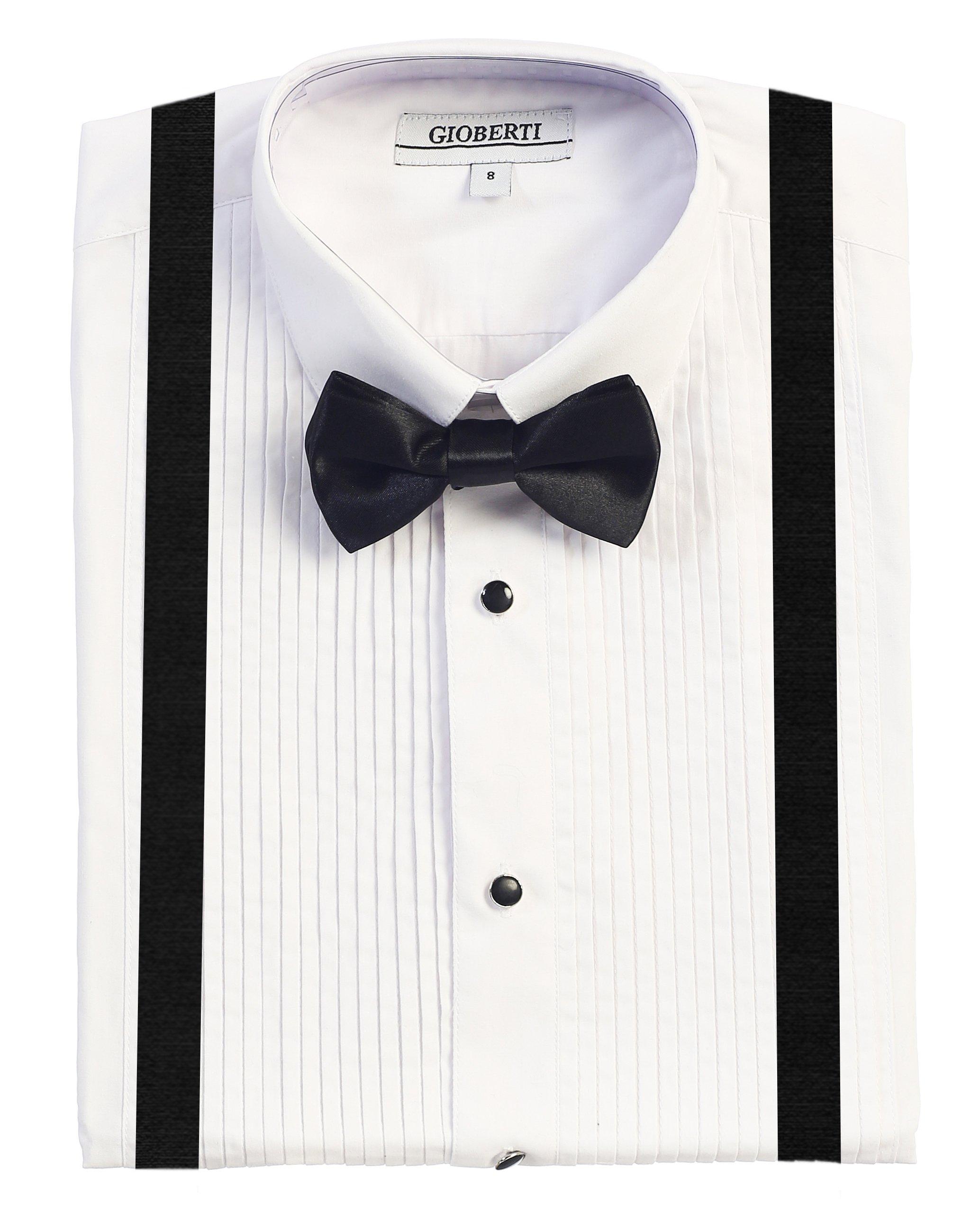 Gioberti Boy's Tuxedo Dress Shirt with Bow Tie & Suspenders, White, Size 2T