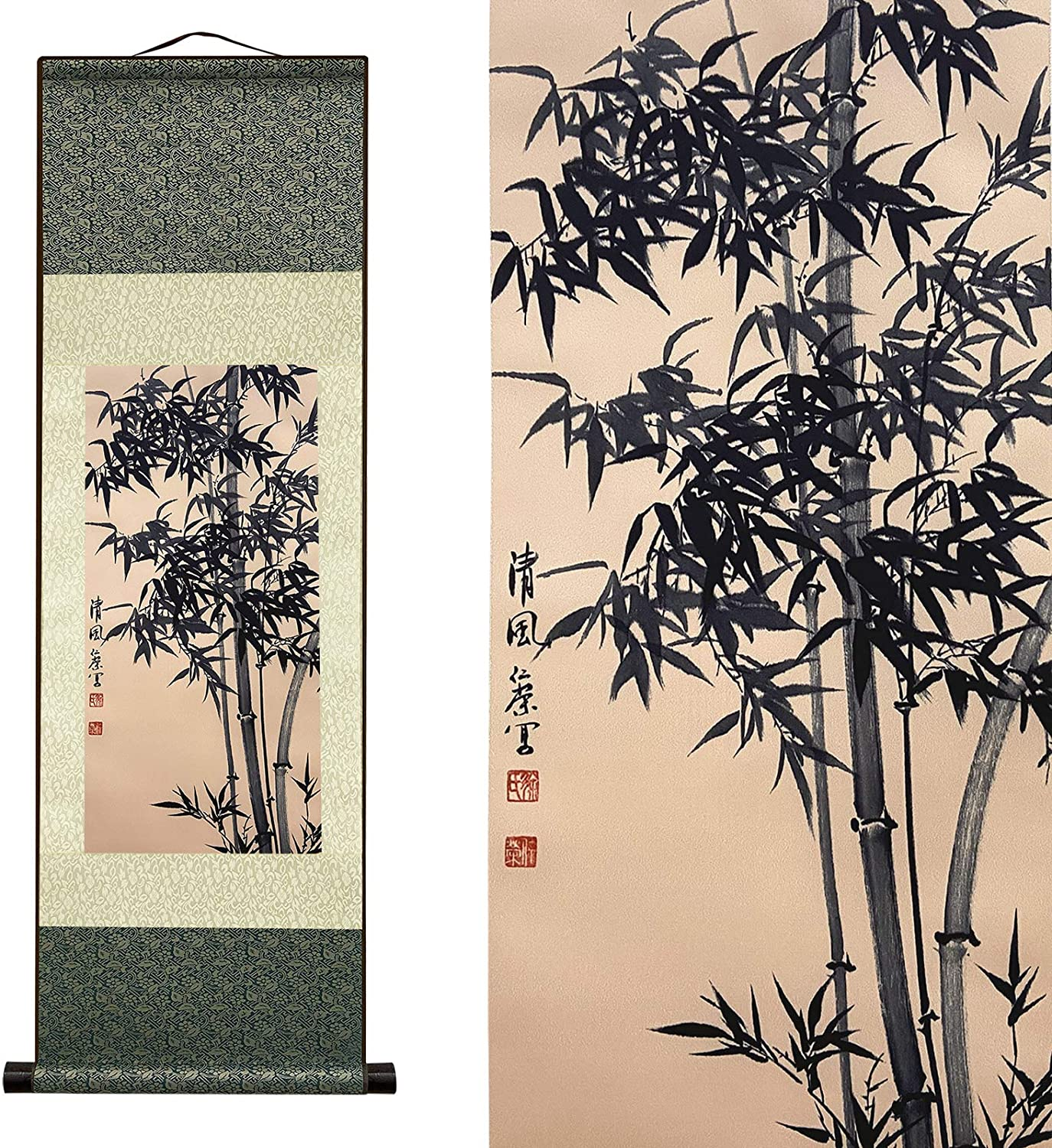 AtfArt Beautiful Scroll Wall Hanging,Bamboo (39 inches x 12 inches)