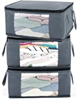 ABO Gear Storage Bins Storage Bags Closet Organizers Sweater Storage Clothes Storage Containers, 3pc Pack