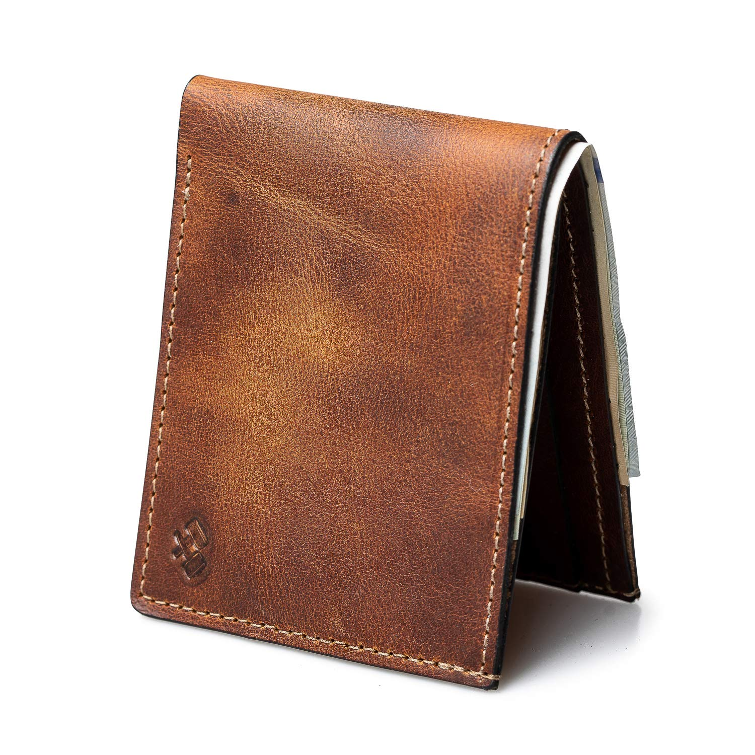 Bifold Leather Wallet For Men | Made in USA | Mens Bifold Wallets | American Made | Tobacco Snakebite Brown | Main Street Forge