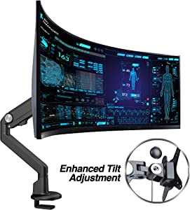 "AVLT Single 13""-38"" Monitor Arm Desk Mount fits One Flat/Curved/Ultrawide Monitor Full Motion Height Swivel Tilt Rotation Adjustable Monitor Arm - VESA/C-Clamp/Cable Management"