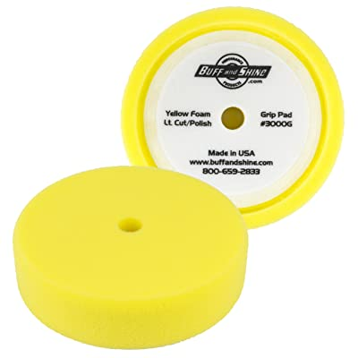 "BUFF and SHINE 8"" Yellow Recessed Foam Buffing Pad - Compounding/Polishing #3000G: Home Improvement"