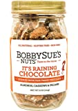 BobbySue's Nuts Its Raining Chocolate 8oz Jar, All Natural Nut Mix of Almonds, Pecans, and Cashews