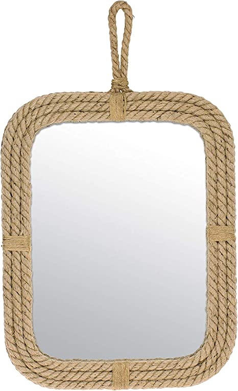 Amazon Com Stonebriar Vertical Rectangle Rope Mirror For Wall Unique Country Decor Home Kitchen