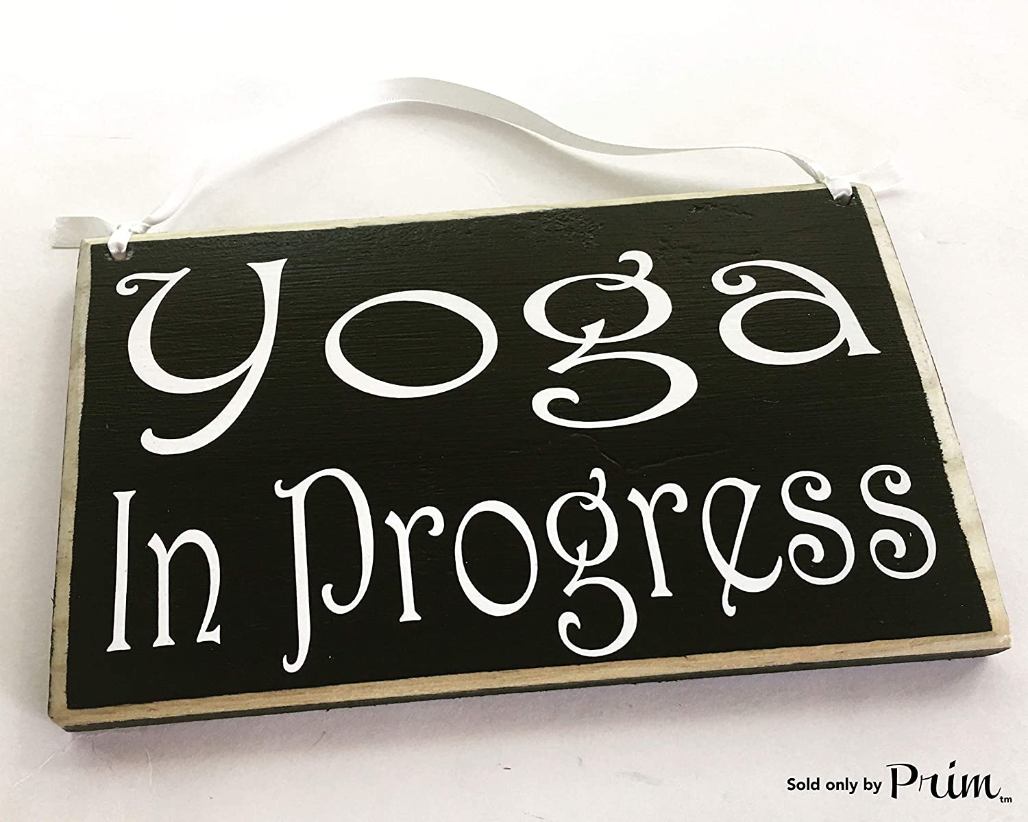 Amazon com 8x6 yoga in progress choose color in session namaste relax meditation sign welcome home office door hanger custom office products