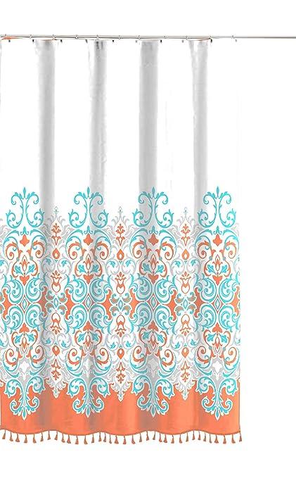 Decorative Floral Paisley Damask Design N Aqua Grey White Fabric Shower Curtain