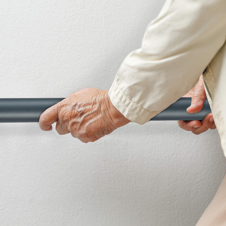 anthrazit Relaxdays Handlauf Aluminium rund /Ø 42mm 100 cm matt Treppengel/änder innen /& au/ßen mit Wandhalterung