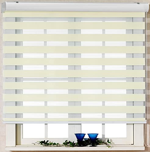 Foiresoft Custom Cut to Size, Winsharp Basic, Ivory, W 108 1 4 x H 55 inch Zebra Roller Blinds, Dual Layer Shades, Sheer or Privacy Light Control, Day and Night Window Drapes, 20 to 110 inch Wide