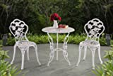 Sunjoy Rosier Bistro Set 3pcs,White