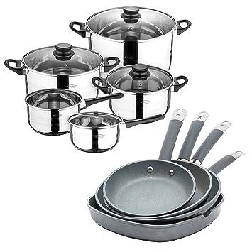 San Ignacio Set de Batería de cocina 8 pcs + Set 3 sartenes 14/20/24 + grill 28: Amazon.es: Hogar