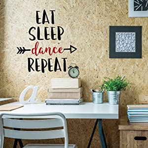 CustomVinylDecor Eat, Sleep, Dance, Repeat Vinyl Wall Decal Sticker | Home Decor Sticker for Teen Girl's Bedroom, Playroom, or Locker Room | Small, Large Sizes | Black, Pink, Gold, Purple