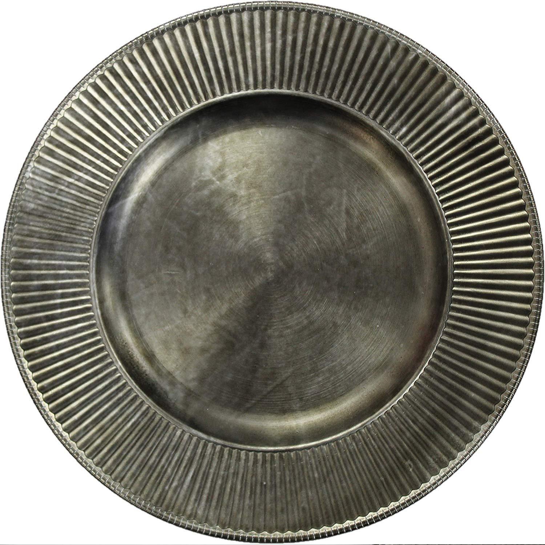 Koop Homewares Set of 4 Antique Silver Charger Plates Under Plates 33cm Premium Range