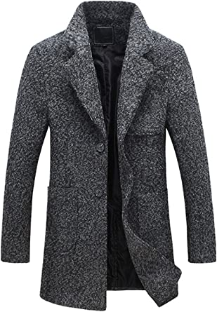 chouyatou Mens Classic Notched Collar 2 Button Slim Formal Wool Blend Walker Coat