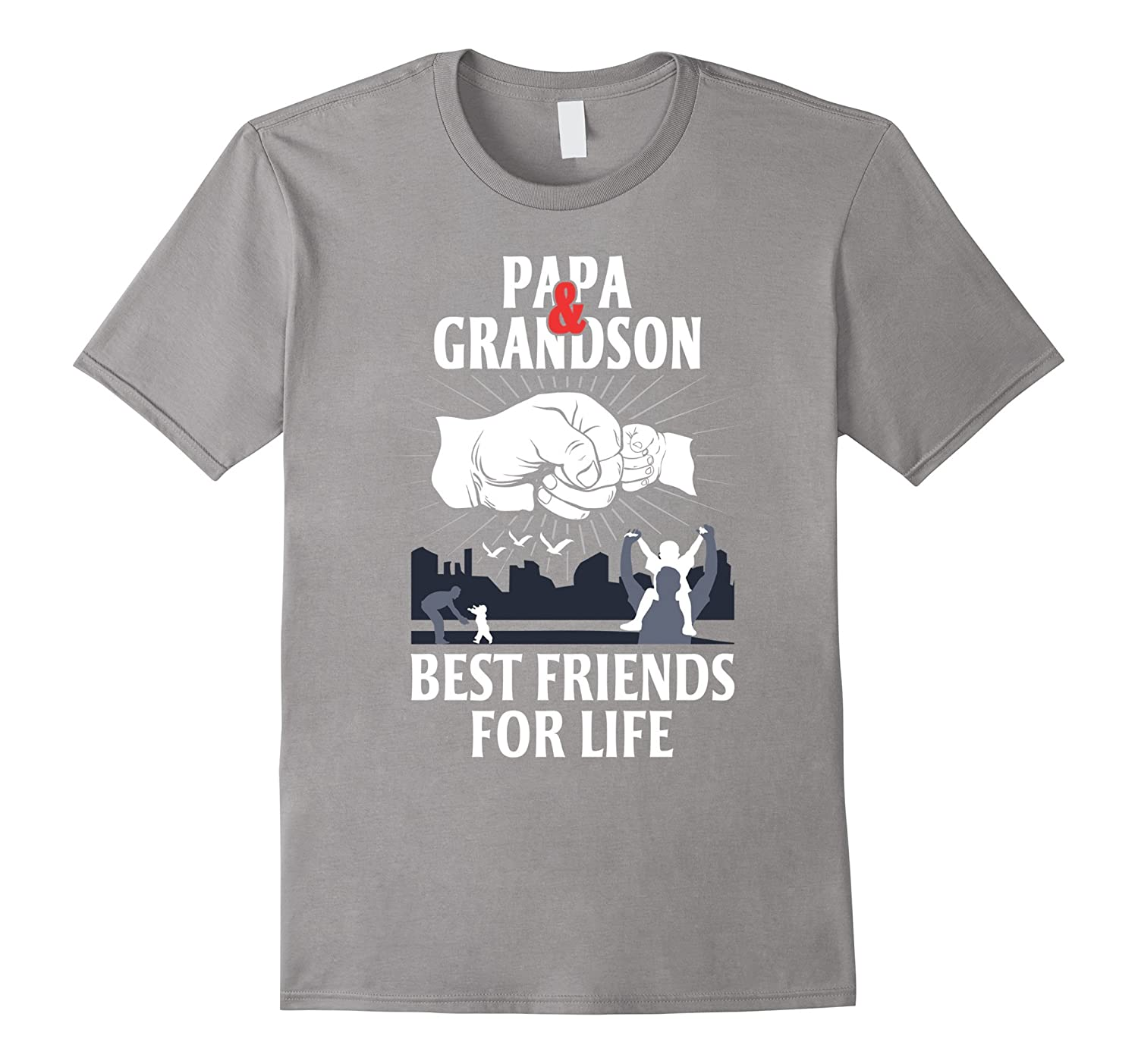 Papa And Grandson Best Friends For Life Papa T Shirt-RT