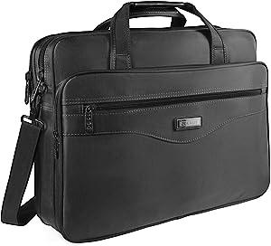 17 inch Laptop Bag, Laptop Briefcase for Men, Business Office Bag for Women, Zokaliy Computer Shoulder Messenger Bag with Organizer Fits 15.6 17 Inch Notebook MacBook HP, Black