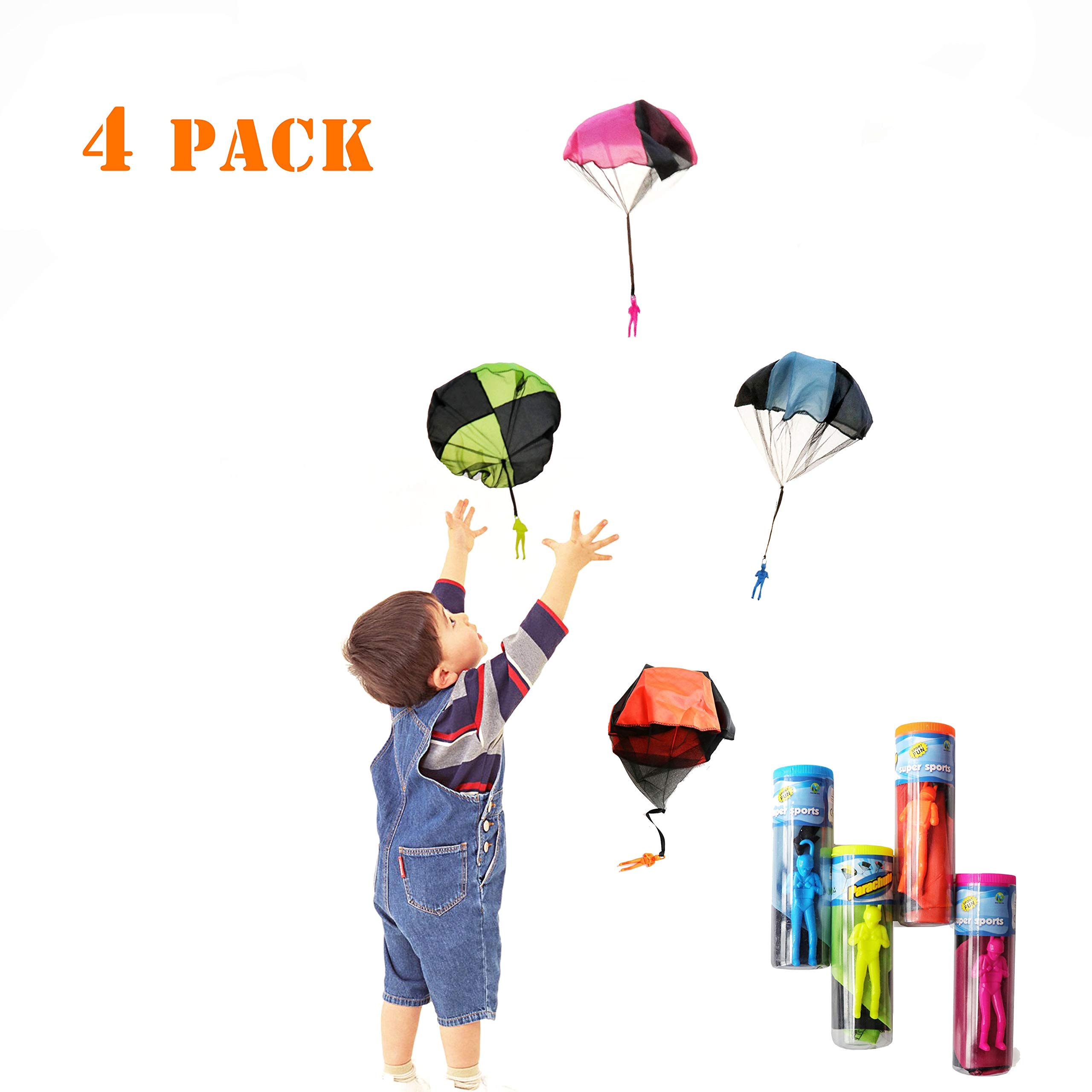 kizh Tangle Free Throwing Figures Hand Throw Soliders Parachute Men Children's Flying Toys 4 Pack Parachute Square Garden Outdoor Play Game Toy