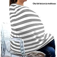 Kit Mobiliario Cubierta para Lactancia Multiusos, Manta para bebés y Rebozo Chal Lactancia Multiusos Fular orgánico algodón Bufanda Gris con Blanco