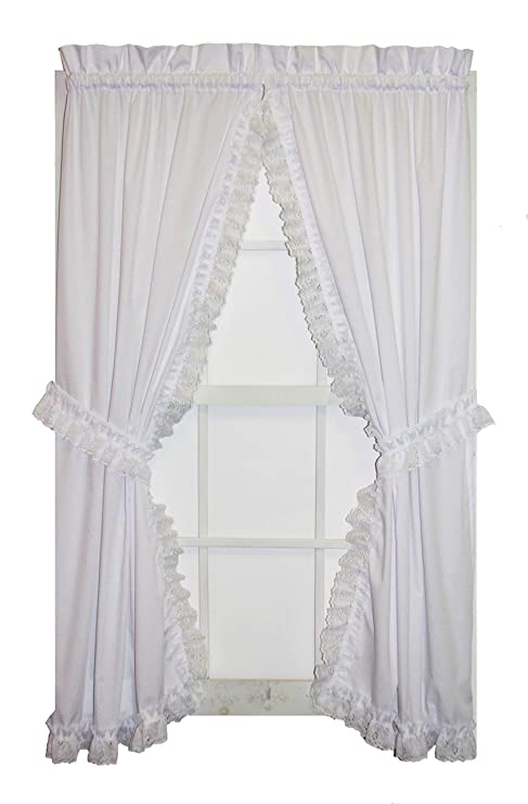amazing Priscilla Curtains Kitchen Part - 11: Window Toppers Cape Cod Priscilla Curtains Pair with Lace Ruffle and Tie  Backs 52-Inch