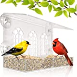 Window Bird Feeder - Removable Feed Tray - Drains Water - See Wild Birds Like Finches, Cardinals and Chickadees