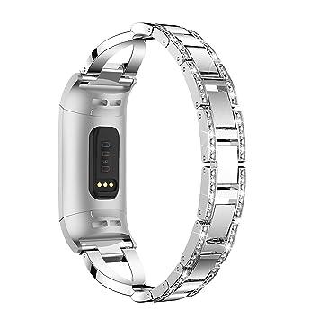 HEYSTOP Compatible Fitbit Charge 3 Bracelet,Bandes Métalliques de Rechange en Acier Inoxydable avec Bracelet en Strass Bling Bandes pour Fitbit Charge ...