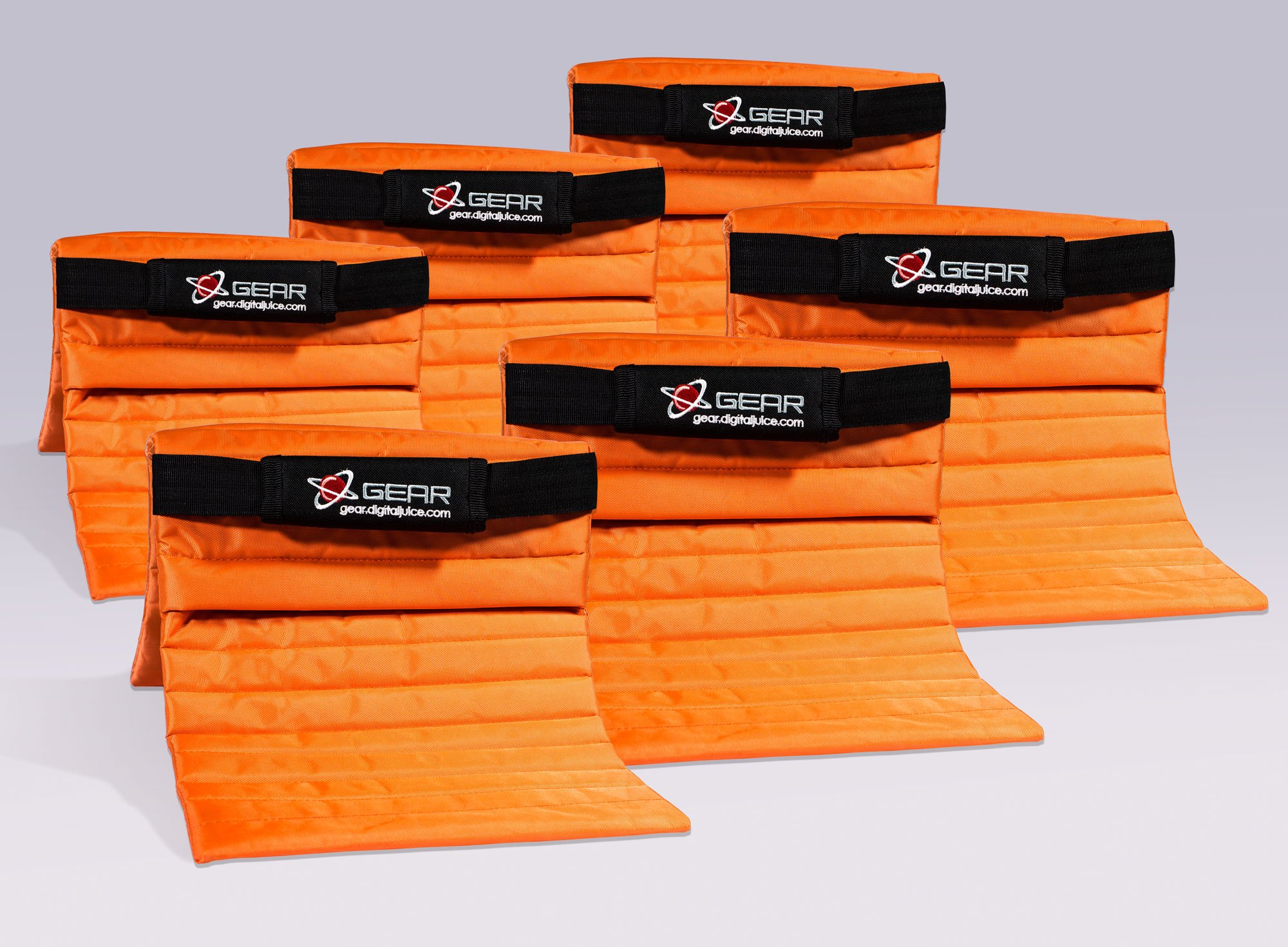 Digital Juice Orange Sand Bag for Photography; Affordable Heavy Duty Saddlebag Design, Saddle Sandbags for Photo Studio Light Stands, tripods, Lighting Accessories (Orange); Without Sand (6 Pack) by Digital Juice