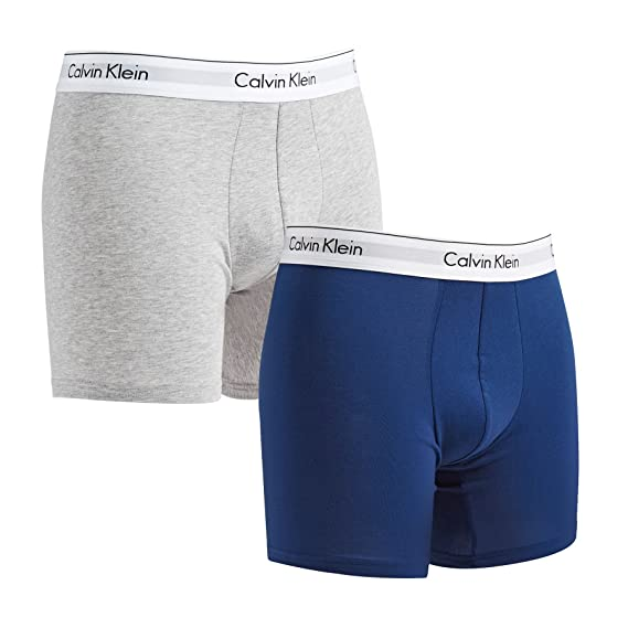 e0f333770283 Calvin Klein Modern Cotton Stretch Boxer Brief 2 Pack - Estate Blue/Heather  Grey - M: Amazon.co.uk: Clothing