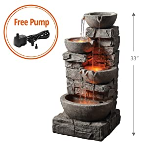 Peaktop - Outdoor Stacked Stone Tiered Bowls Fountain w/ LED Light
