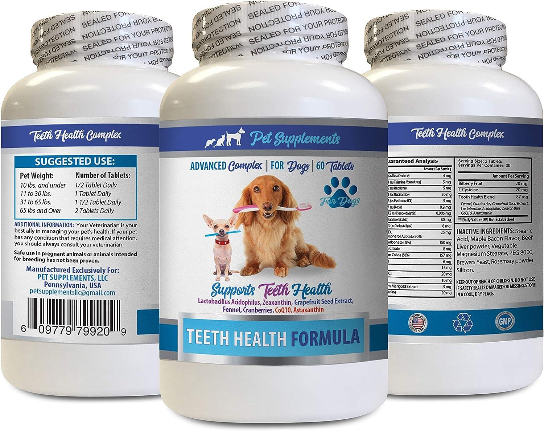 PET SUPPLEMENTS Dog Bad Breath Treats - Dog Teeth Health Formula - Advanced Support Complex - Overall Health - Dog Vitamin c - 1 Bottle (60 Tablets)