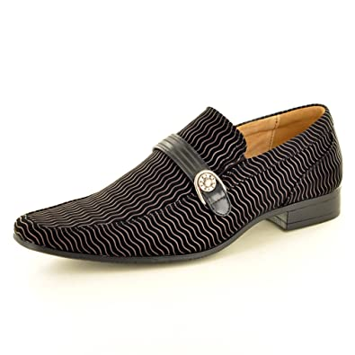Men's Italian Style Black Lined Suede Slip On Formal Wedding Shoes