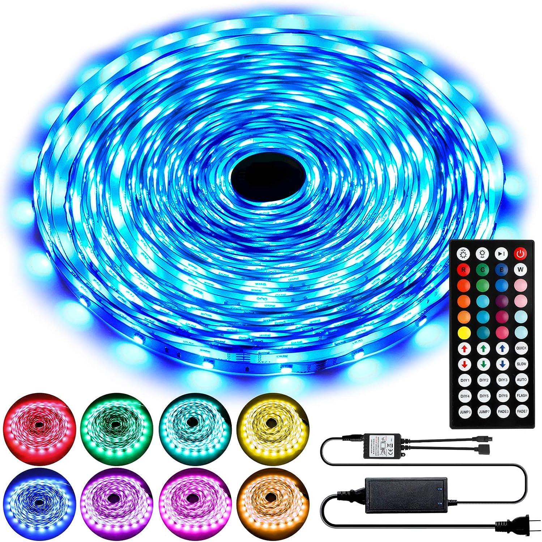 50ft LED Strip Lights, RGB LED Lights Strip Kit with 44 Key IR Remote, SMD 5050 Color Changing Strip Light LED Lights for Bedroom, Flexible LED Tape Lights for Room Home Bar Party Christmas Decoration