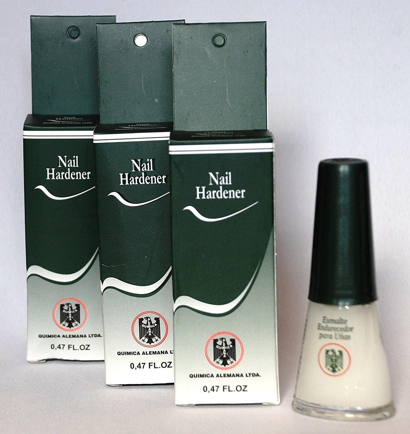 3 Bottles Quimica Alemana Nail Hardener Strengthener Polish Treatment 0.47 oz