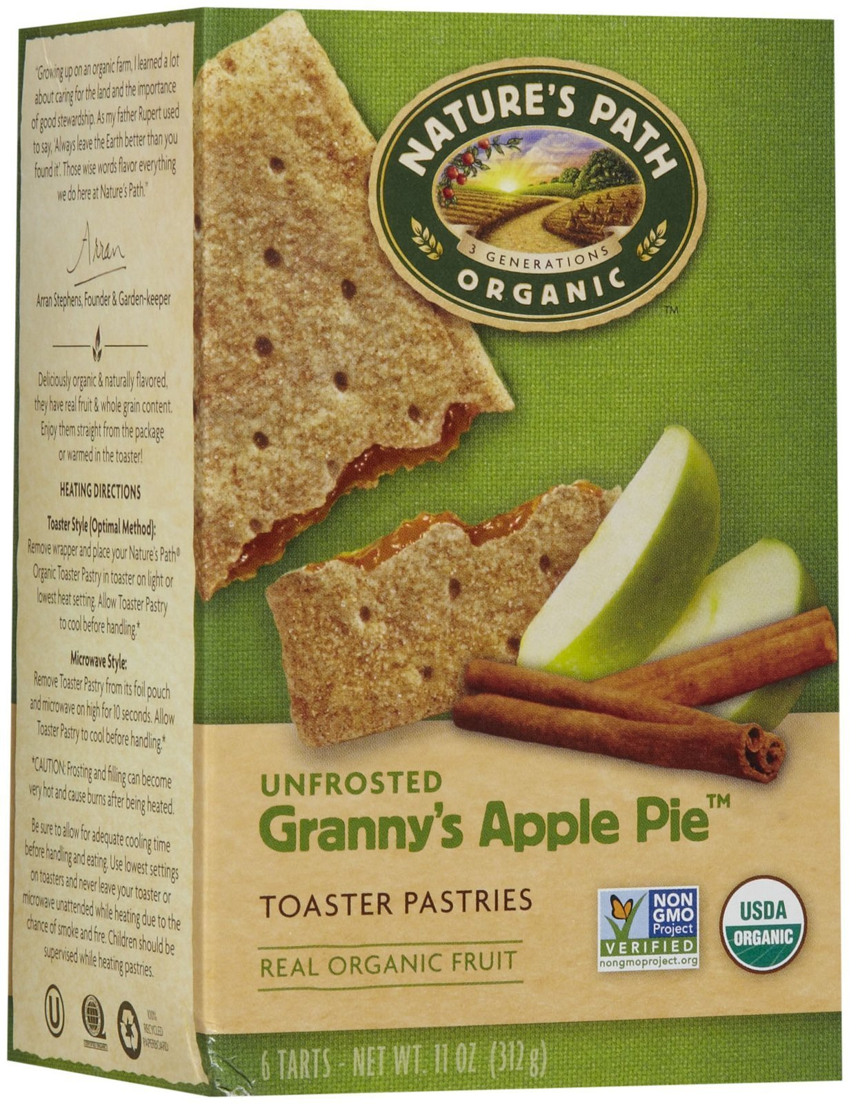 Nature's Path Un-Frosted Toaster Pastry - Apple Cinnamon - 11 oz - 6 ct