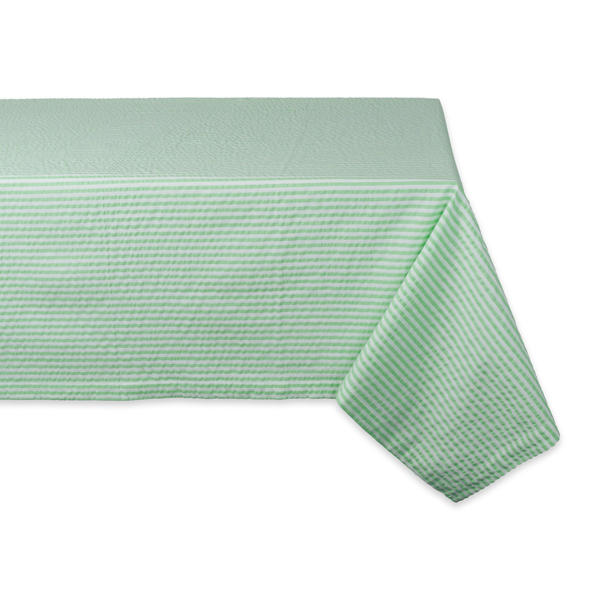 DII Cotton Seersucker Striped Tablecloth for Weddings, Picnics, Summer Parties and Everyday Use, 60x84'', Bright Green and White