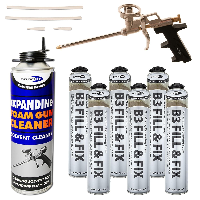 Kit6 x 750ml Expanding Foam Cans 1 x Professional Gun 1 x