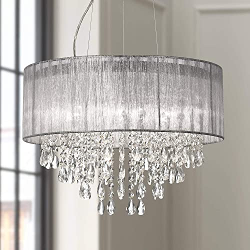 Jolie Chrome Drum Chandelier 20″ Wide Modern Crystal Silver Fabric Shade Fixture