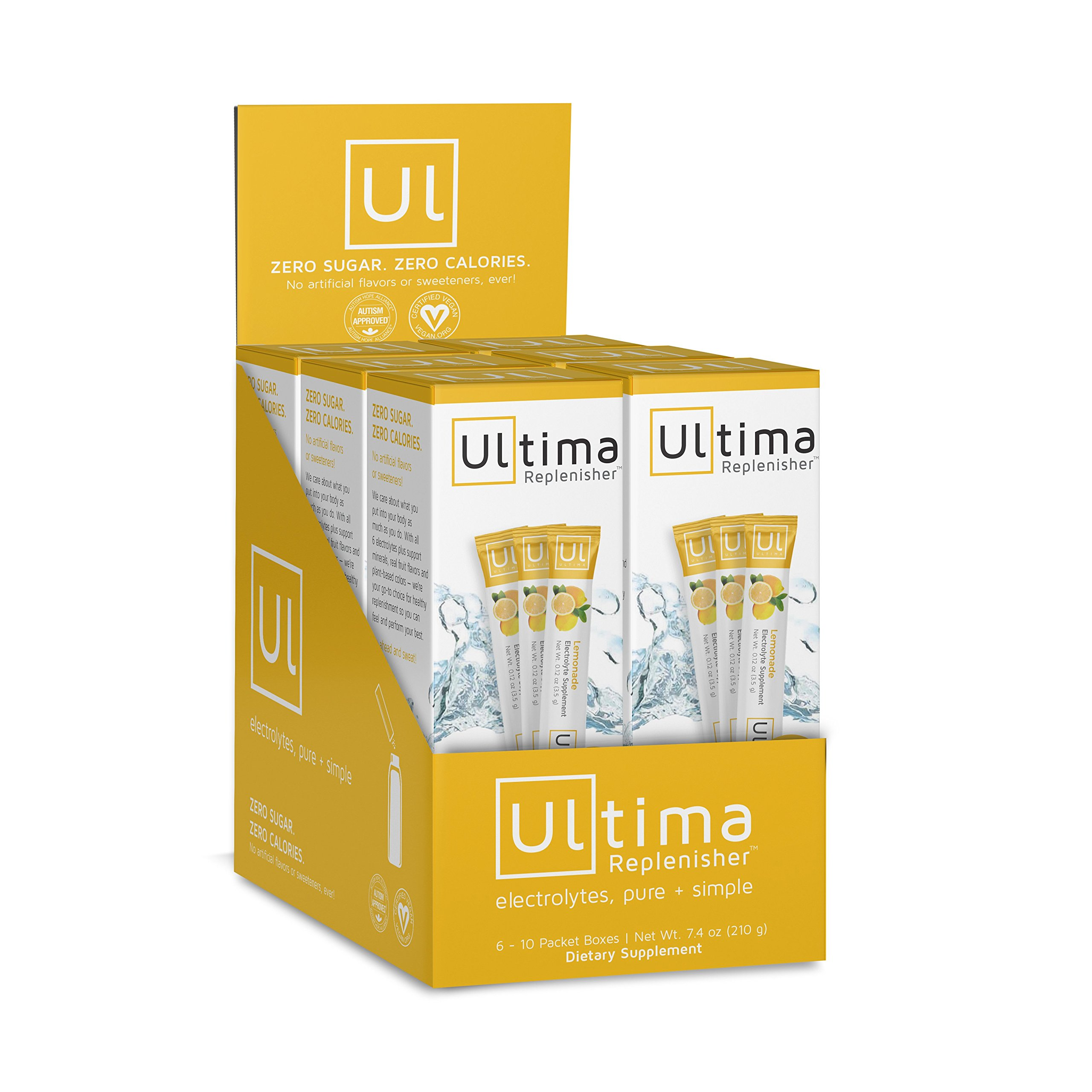 Ultima Hydrating Electrolyte Powder, Lemonade, 60 Count Stickpacks by Ultima Replenisher (Image #1)