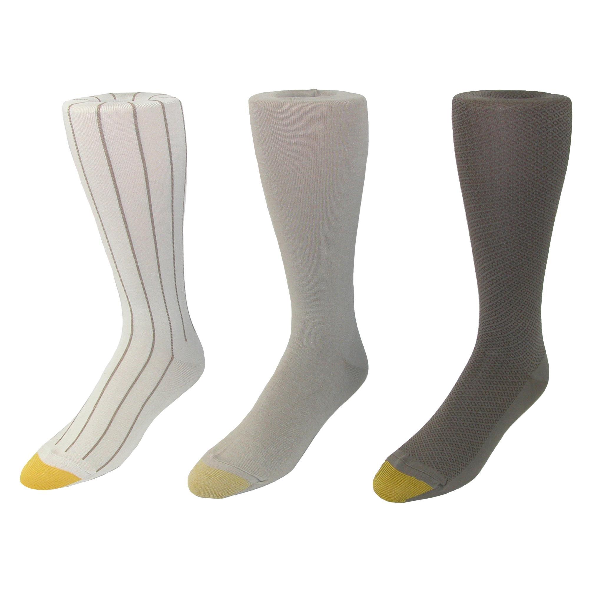 Gold Toe Men's Over the Calf Moisture Control Fashion Socks (Pack of 3), Beige