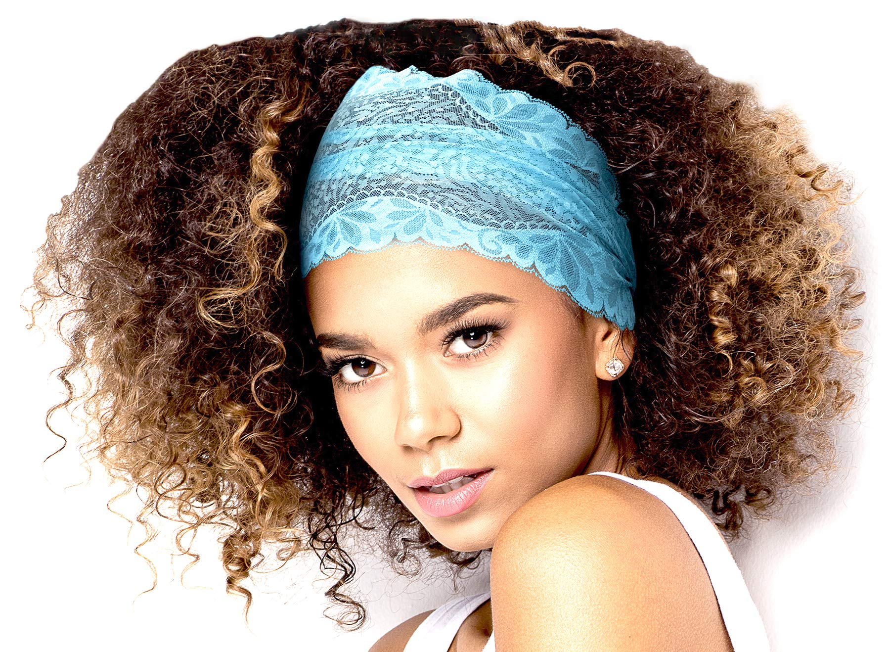 ShariRose Stunning Stretch Wide Floral Lace Headbands in Many Beautiful Colors Handmade (Turquoise Shine)