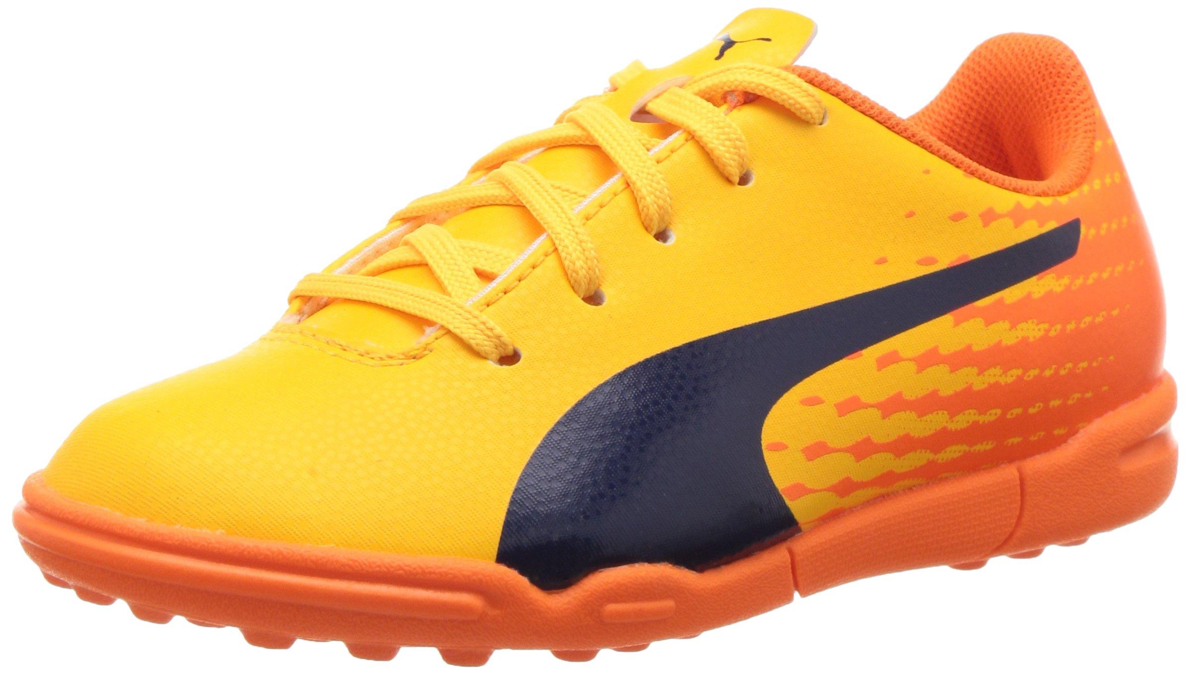 PUMA Kids' Evospeed 17.5 TT Jr Skate Shoe, Ultra Yellow-Peacoat-Orange Clown Fish, 4 M US Big Kid