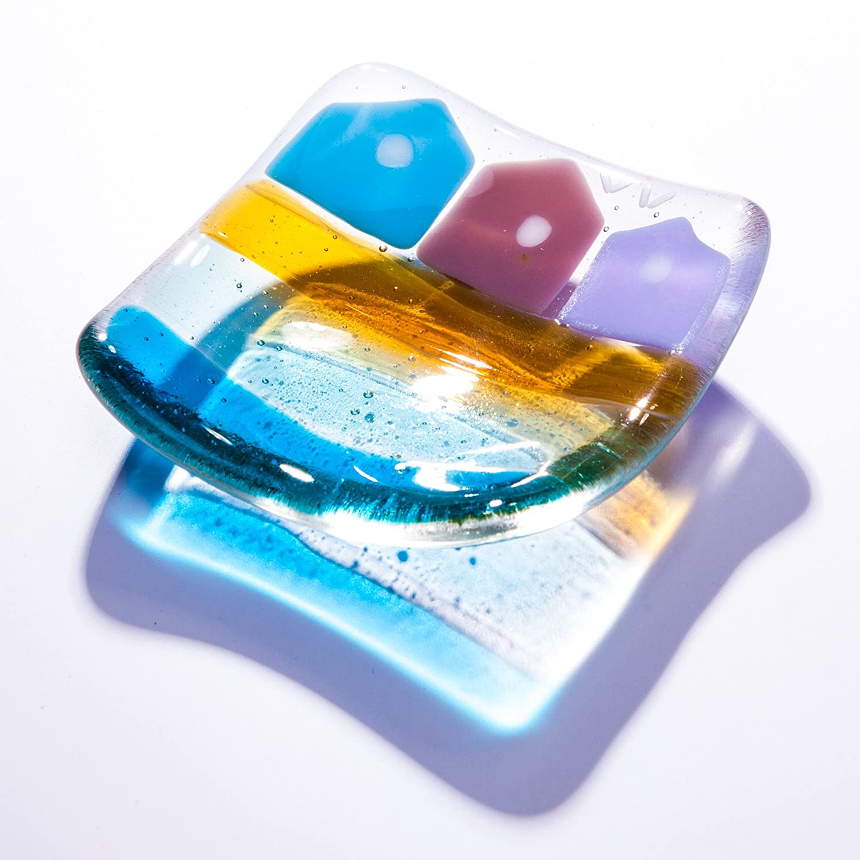 vidrio fundido de bol o plato perfecto como candelabro, o para joyas, monedas, llaves, snacks, dulces, tesoros - hecho a mano en East Sussex, ...